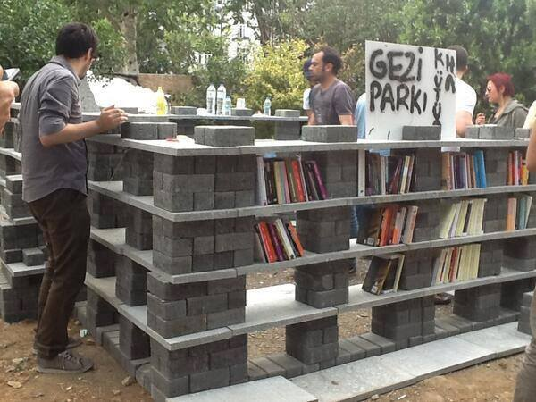 The library that has been set up in Gezi Park. A beautiful thing.