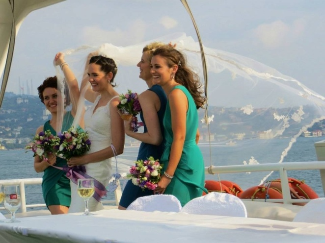 Beautiful bride and beautiful bridesmaids.